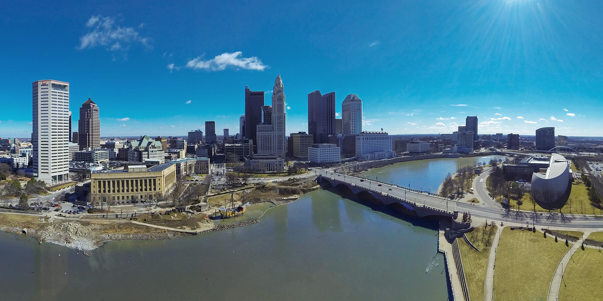 Aerial Photography of Columbus, Ohio Skyline