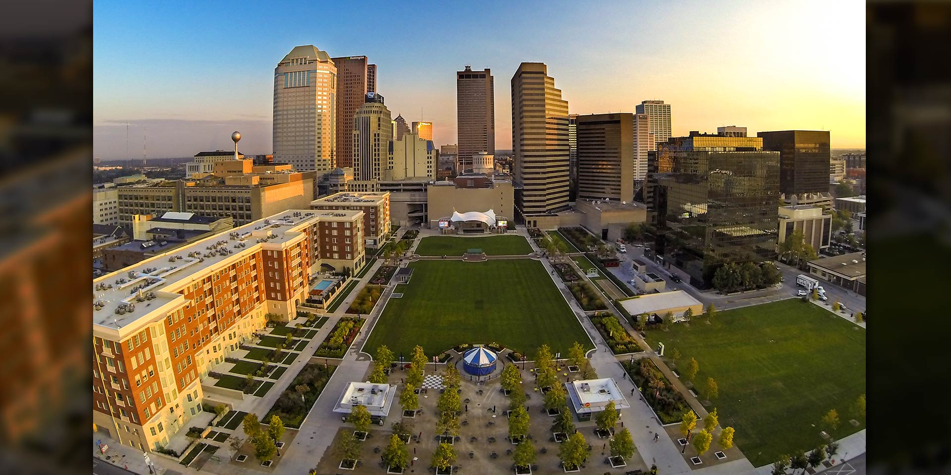 Aerial view of Columbus Commons